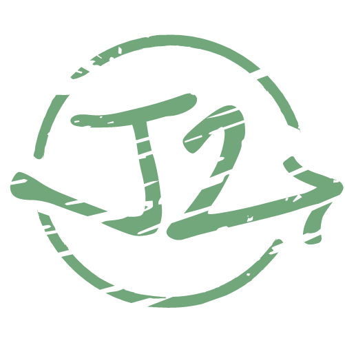 Green, circular J2 logo on opaque background