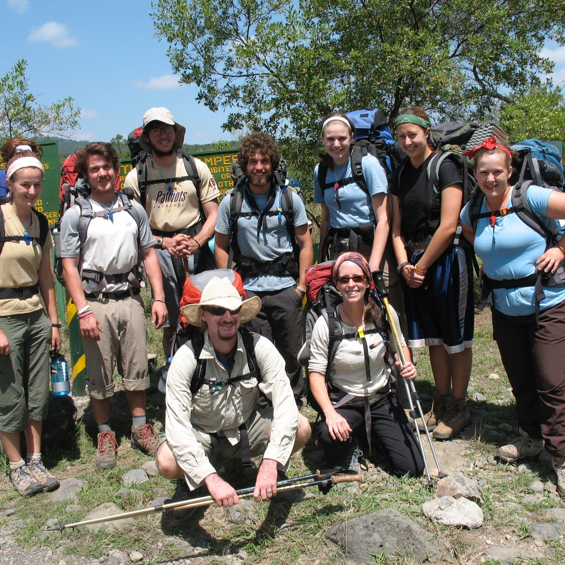 Jane & Jason Sarouhan leading a group of students inspired to engage life on a backpacking trip up Mt. Meru, Tanzania